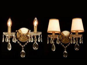 Arandelas clássicas com luzes quentes em um fundo preto