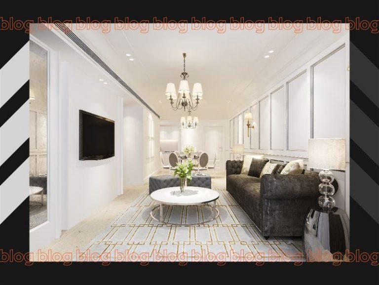 Sala de estar com decoração de móveis e lustres clássicos
