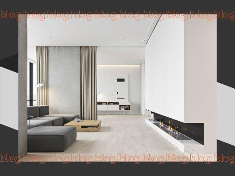 sala de estar estilo minimalista branca com sofá cinza