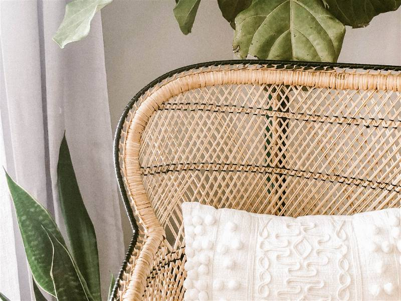 Cadeira feita de palha ao em frente a vasos de planta e almofada branca sobre a cadeira