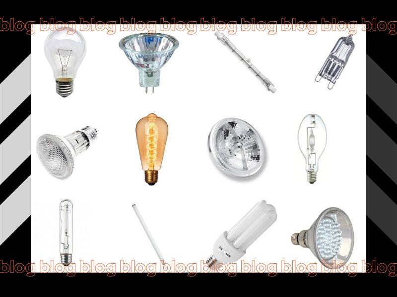 Banner com diversos tipos de lâmpadas, imagem fundo branco e bordas pretas com o nome Henrilustre escrito em várias vezes