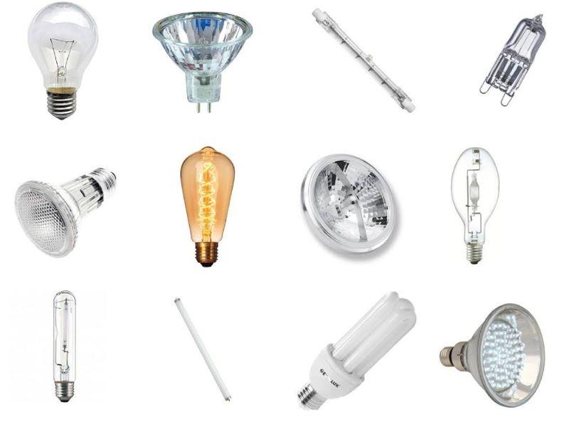 Imagem com fundo branco e diversos tipos de lâmpada uma ao lado da outra