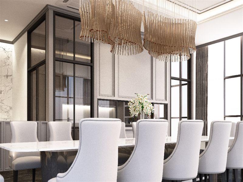 Sala de jantar sofisticada com móveis e paredes claras, bem iluminado