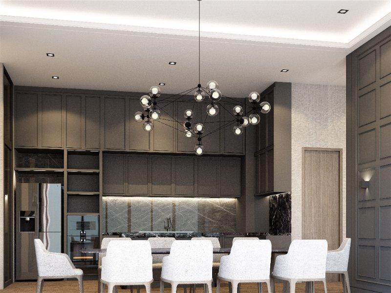 Cozinha sofisticada com mesa de oito cadeiras ao centro, sob um lustre com diversas lâmpadas e na parede uma arandela