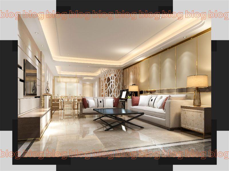 Sala grande e moderna com bastante iluminação