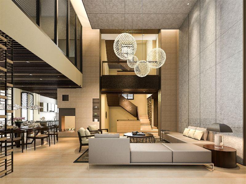 Grande salas moderna com lustres ao centro em formato de bola