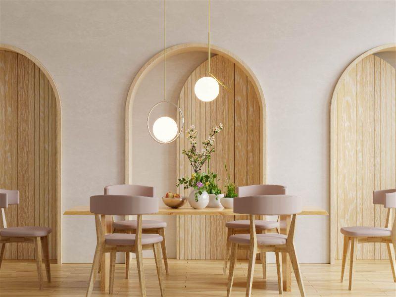 sala de jantar Jogo de mesa e cadeiras de 6 lugares com lustre baixo para sala de jantar com duas luminarias circulares focais