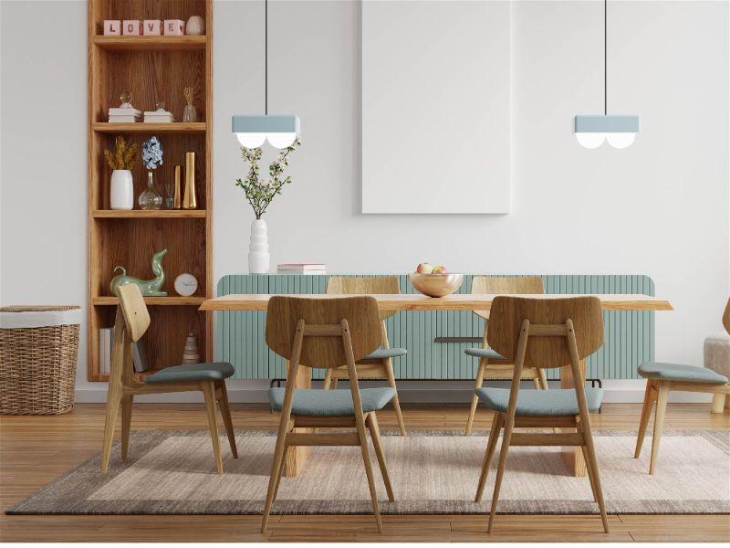 sala de jantar com iluminação baixa para sala de jantar. jogo de mesa e cadeiras com 6 lugares