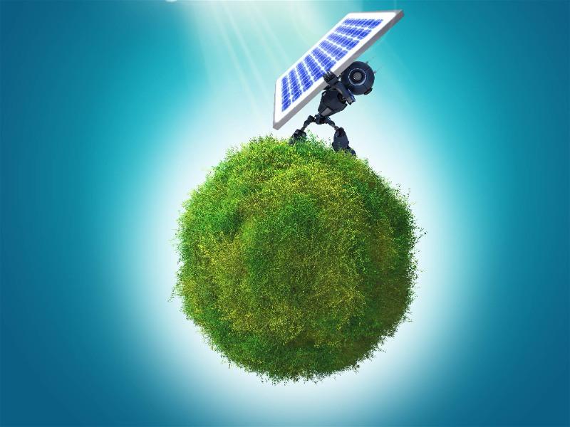 planeta terra com natureza intacta e robô segurando uma placa de energia solar
