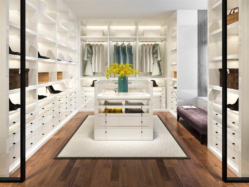 closet feminino branco com iluminação de led nas prateleiras