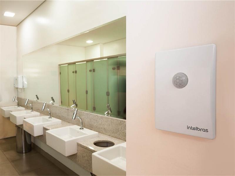 banheiro público com sensor de presença sem interruptor