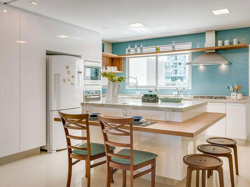 iluminação embutida na cozinha multifuncional