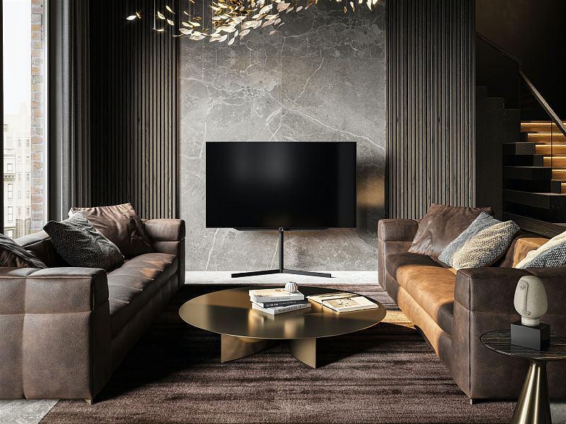 sala de tv escura com lustre