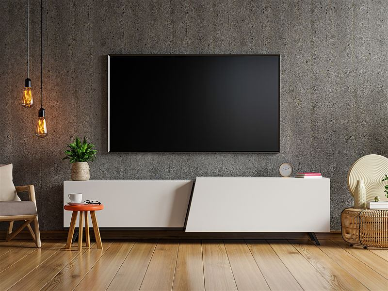sala de tv escura com pendentes de led