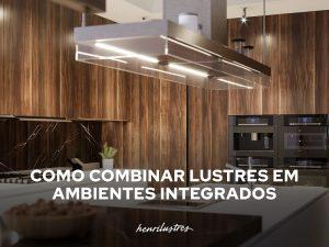 lustre em ambiente integrado de cozinha ripada